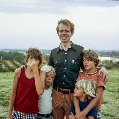 Paul with (left to right) nephew John, Gerrit, Gerard, and nephew Andrew. 1977.