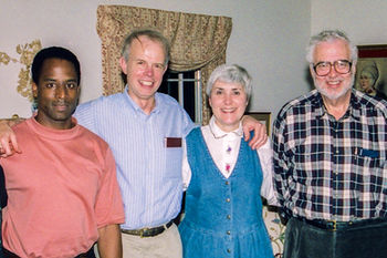 Paul and Cynthia with Steve Lee, left, and Gene Golub, right, Champaign 1994.
