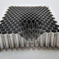 honeycomb substrate, with cutout formed by electrochemical machining