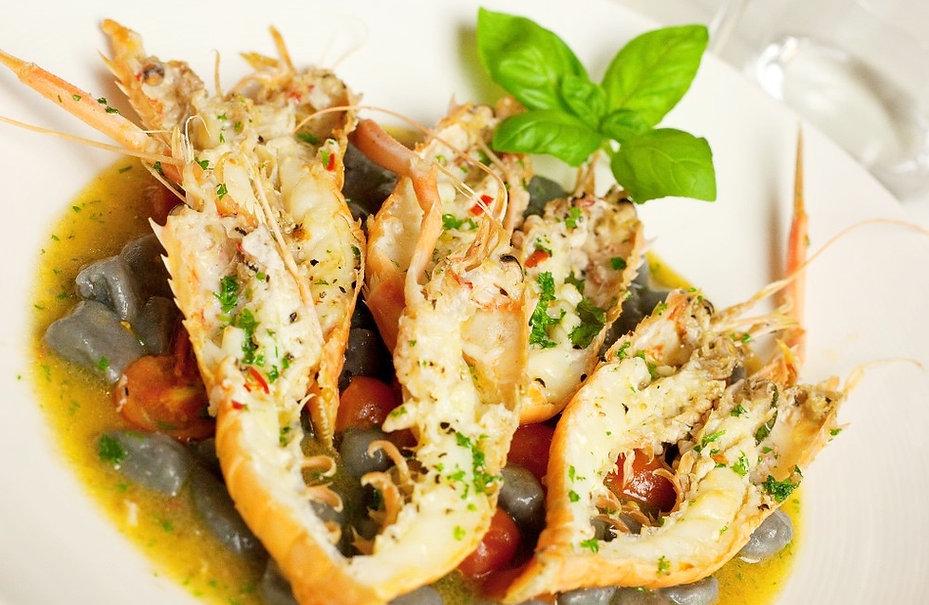 Scampi, Seafood, Gnocchi, Squid Ink Gnocchi, Cherry Tomatoes, Basil, Garlic