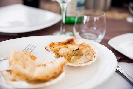 Scallop in shell, Cream and Mushroom sauce, Vinegar and cream, Porcini mushrooms