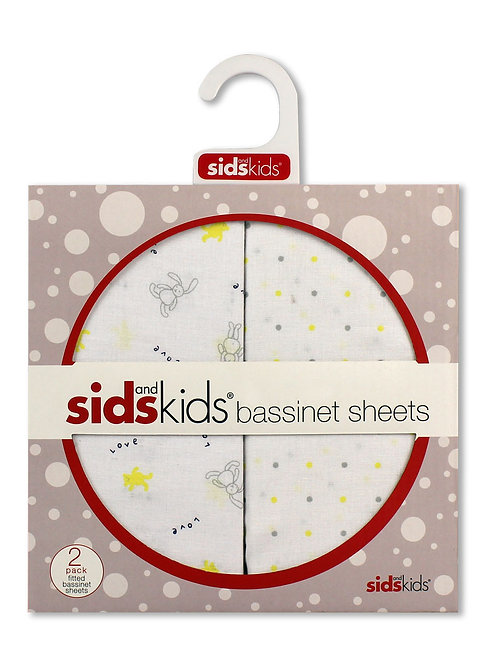 Bubba Blue SIDS and Kids yellow bear 2 pack bassinet fitted sheets