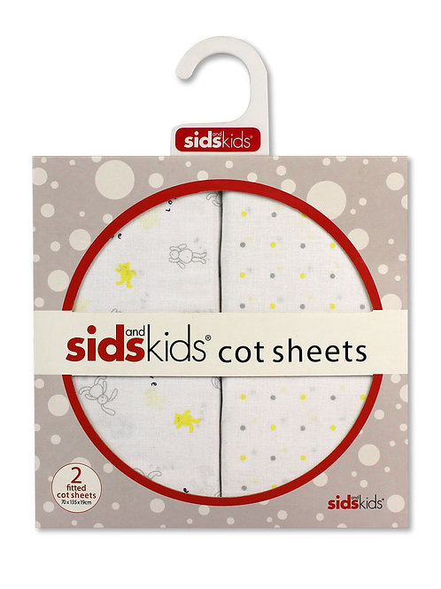 Bubba Blue SIDS and Kids yellow bear cot fitted sheets