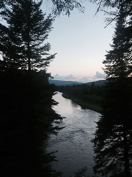 Looking west from Sam's Lookout upstream on the Swift Diamond River in the Dartmouth College Grant