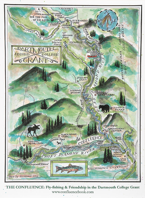 Map of the Dartmouth Second College Grant drawn by artist Jill Osgood