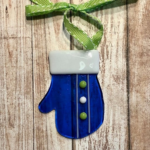 Blue Fused Glass Mitten Ornament