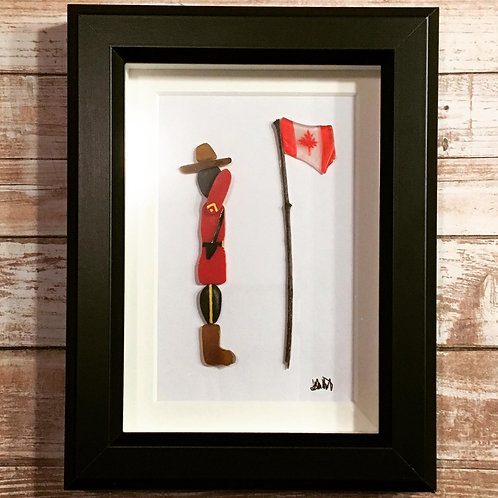 """Framed 8"""" x 10"""" Glass Handmade Mountie Salute Picture"""