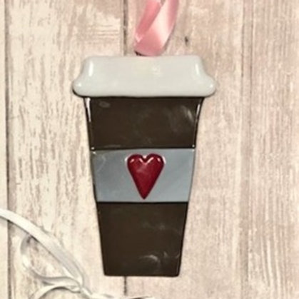 Fused Glass Coffee Cup Ornament