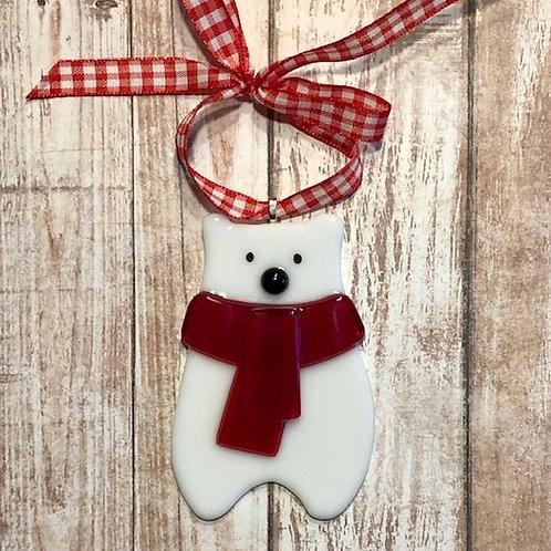 Fused Glass White Teddy Bear Ornament