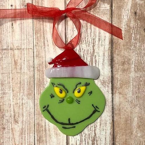 Fused Glass Grinch Ornament Santa Hat