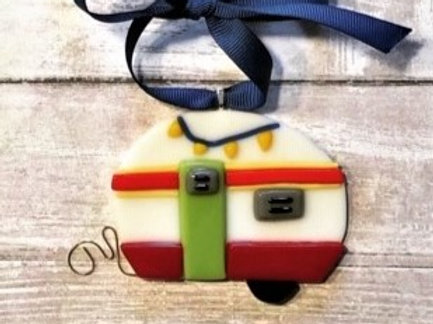 Teardrop Camper Red Glass Ornament Christmas