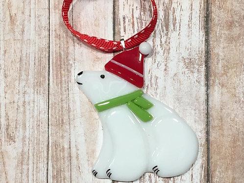 Fused Glass Polar Bear Santa Hat Ornament