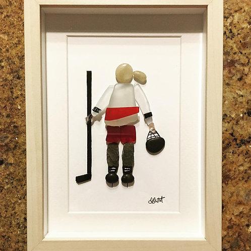 "Hockey Player Girl - 9"" x 9"""