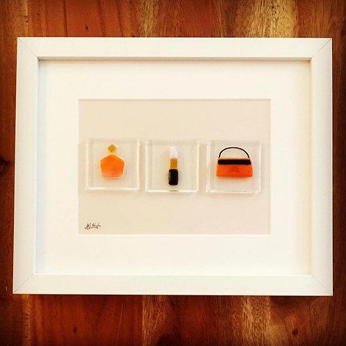 Glass Fused Perfume Lipstick Purse Glam Gift Orange Handmade