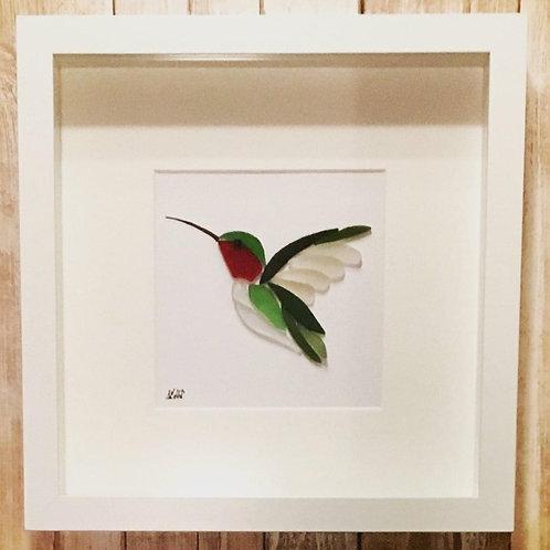 Sea Glass Handmade Hummingbird Framed Picture