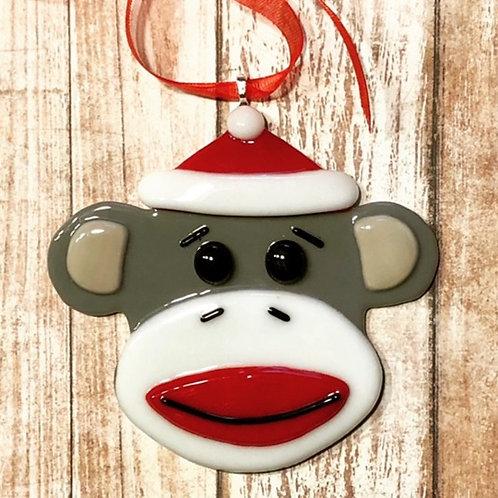 Fused Glass Christmas Sock Monkey Santa Hat Ornament