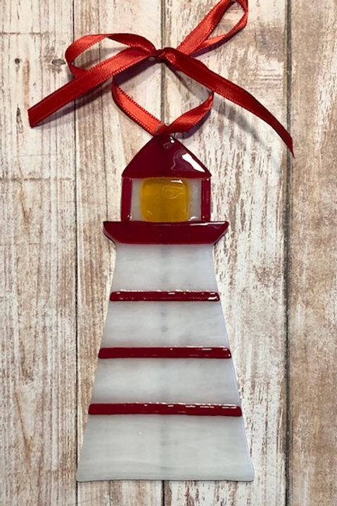 Red Striped Lighthouse Ornament