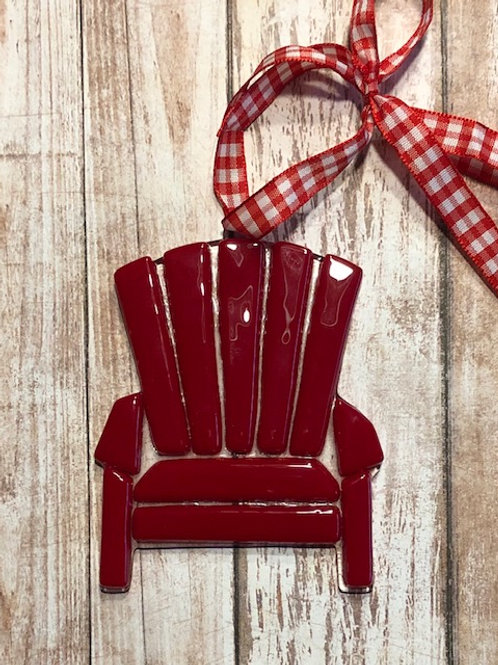 Fused Glass Red Adirondack Chair Ornament