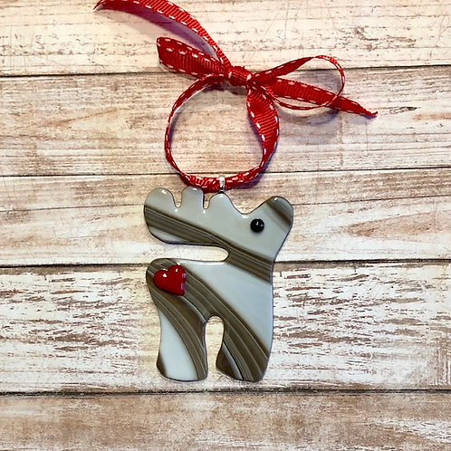 Reindeer Brown White Red Heart Glass Ornament