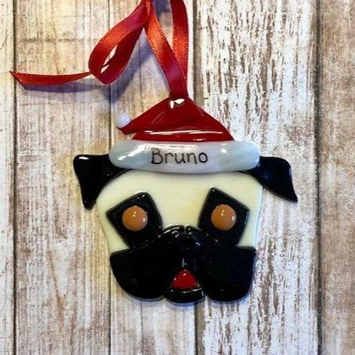 Pug Life Santa Hat Glass Ornament