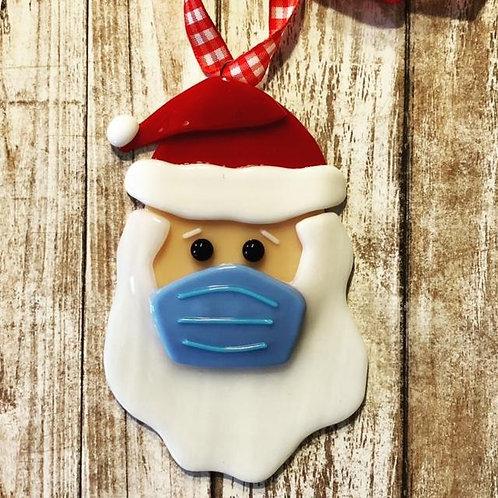 Santa Covid non medical Mask Fused Glass Ornament