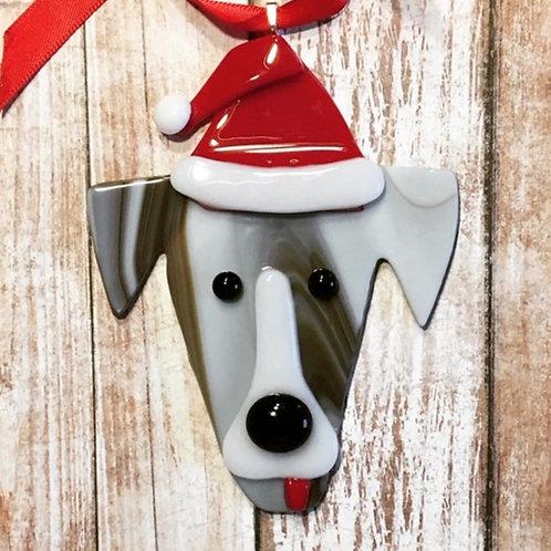 Brown White Dog Santa Hat Christmas Glass Ornament Custom