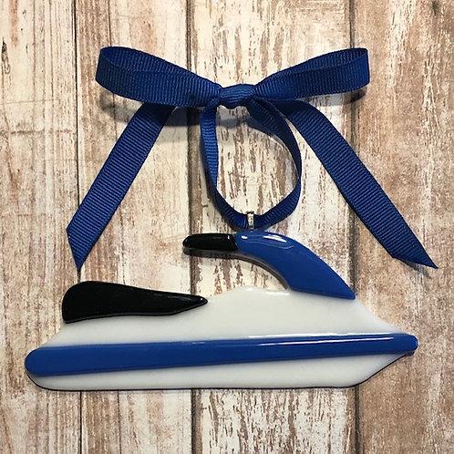 White Blue Glass Jet Ski Ornament