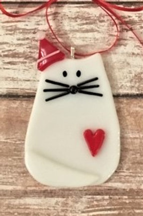 White Fused Glass Cat Heart Santa Hat Christmas Ornament