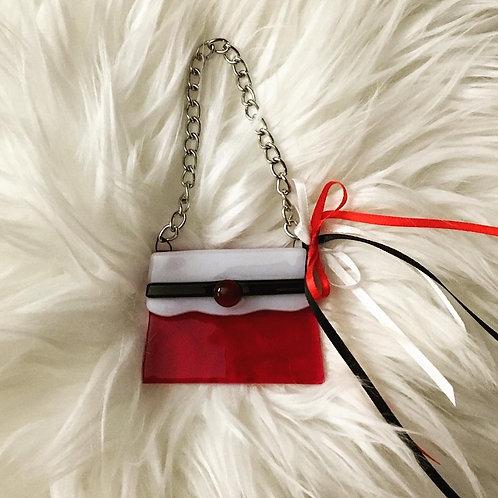Fused Glass Red White Fashionista Purse Ornament