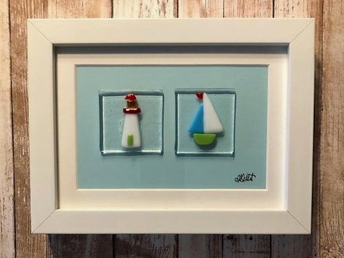 Lighthouse Sailboat Glass Handmade Picture