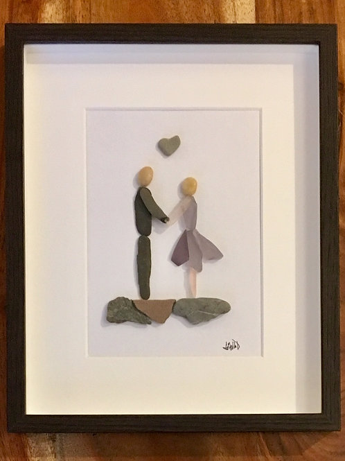 Sea Glass Lovers Couple Heart Framed Picture Handmade