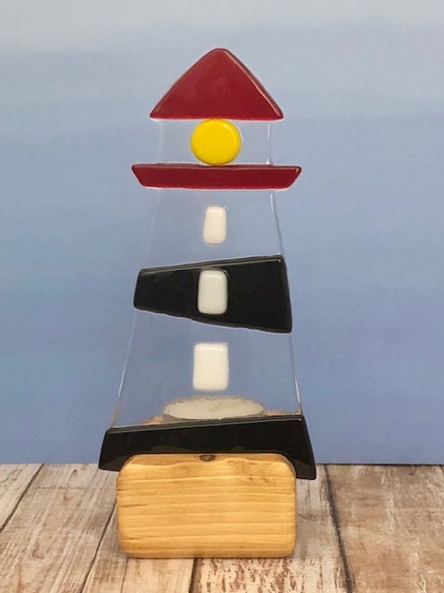 Black Striped & Red Top Lighthouse Tealight Candle Holder