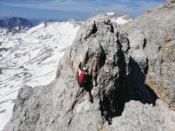 Freies Klettern am Jubiläumsgrat erfordert Konzentration und Vertrauen in die eigenen Fähigkeiten