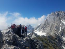 Mit den Teilnehmern des Grundkurses Bergsteigen im Berchtesgadener Nationalpark