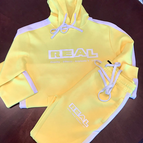 Real 2 Piece Yellow SweatSuit