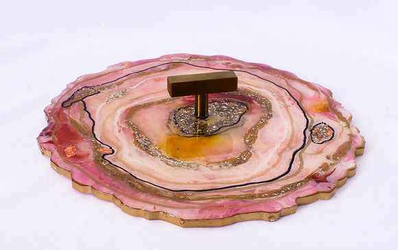 Pink Resin Tray with Handle (ARK033)