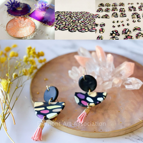 """""""Summer Color Clay Earring with Crystal Cluster Trinket Clay"""""""