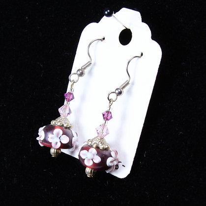 Earrings - Purple Flower Lampwork Beads (LJB 002)