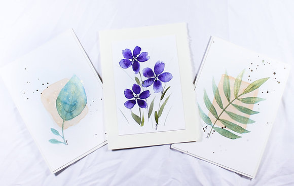 Set of 3 Original Watercolor Card (VFJ 533)