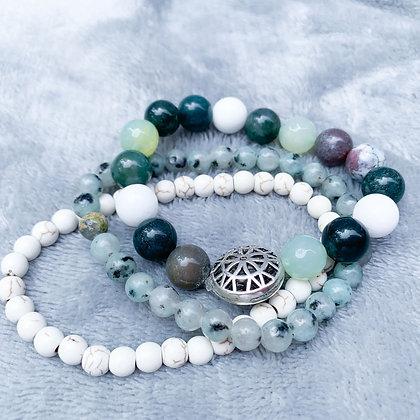 Jades and Spoted Jaspers Bracelet Stack (ARK023)
