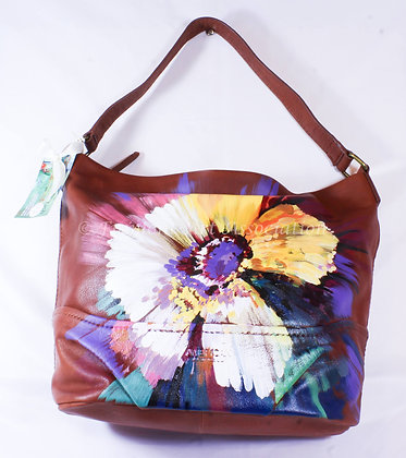 Large Leather Bag with Yellow Flower (NVB 013)