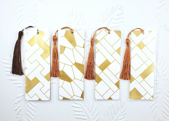 White and Gold Tessellation Bookmark