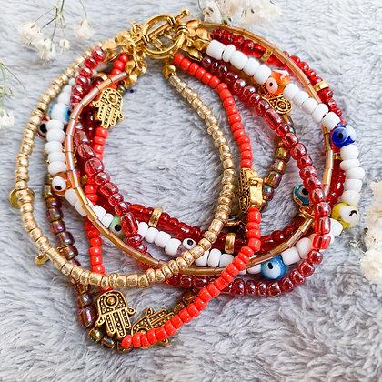 Red Evil Eye SeedBead Bracelet (ARK017)