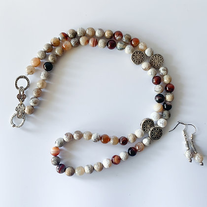 Earth Agate Necklace Earring Set (ARK025)