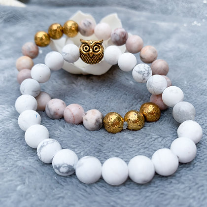 Owlite- Opals and Howlite Mix Bracelet Stack (ARK011)