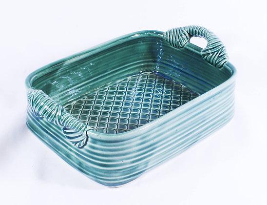 Rectangular Baker in Green Glaze (AMC 014)