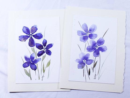 Set of 2 Original Watercolor Card (VFJ 534)