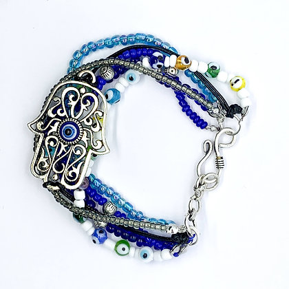 Peace and Evil Eye SeedBead Bracelet (ARK015)