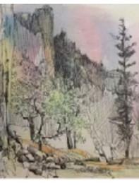 Jan Schafir Pen and Ink Watercolor Wash.