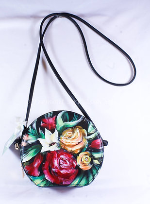 Round Black Bag with Flowers (NVB 014)